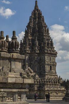 Prambanan, Indonesia - July 17, 2019: Ancient Hindu temples of Prambanan, Rara Jonggrang, in the special, Yogyakarta region, Java island, Indonesia, Southeast Asia.