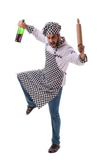 Male cook isolated on the white background