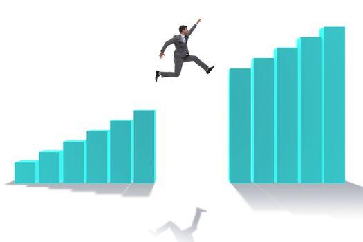 Businessman running towards economic success