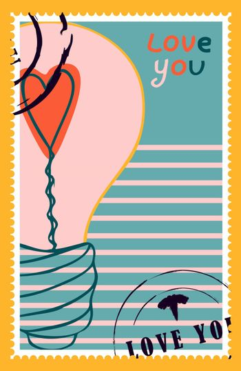 romantic postage stamps. envelopes and cards for valentine's day. Top-down view. Modern vector illustration for web design and print. Retro stamps. Correspondence and postal delivery concept