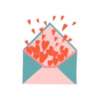 Hearts fly out of the envelope. Envelope filled with hearts. love letter. Love message. Friendship and affection concept. Valentine's Day