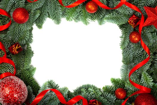Christmas design boder frame greeting card of noble fir tree branches and red baubles isolated on white background
