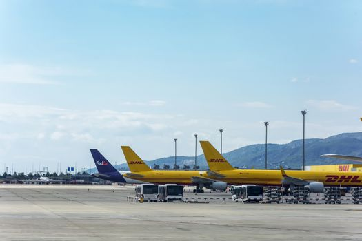 Spain, Barcelona - 26.09.2017: Aircraft of postal companies at the airport for parking and unloading