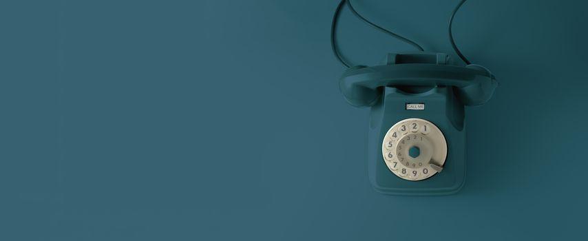 An blue vintage dial telephone.