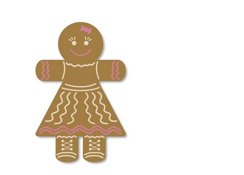 On a white background Christmas gift: gingerbread in the form of a girl. Presented on a white background.