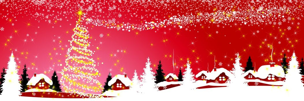 Christmas tree with lights and a star on a red winter background. Village houses covered with snow. Snowflakes, snow, forest. Winter snowy night on Christmas Eve.