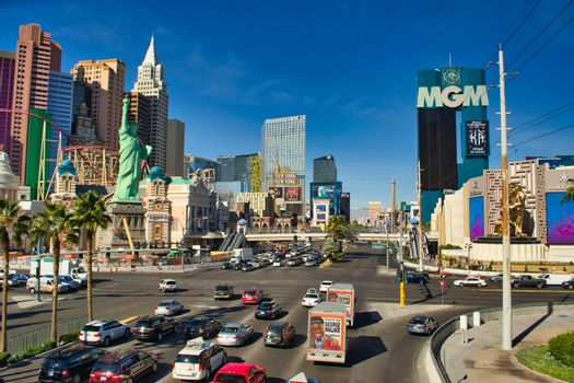 View on the strip in Las Vegas, Nevada, with MGM, New York, Hakkasan and Aria Tropicana Avenue