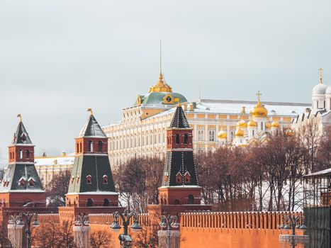 Senate Palace behind red brick walls of Kremlin. Architectural landmark in Moscow, Russia.