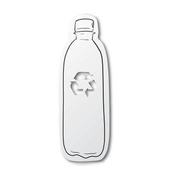 Vector illustration black line hand drawn of used bottle and rec