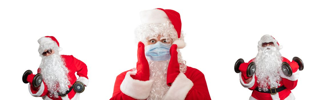 Santa Claus wearing a medical mask with his arms by his face, eyes wide open. He looks scared. Two Santa Clauses working out in the background. Isolated on white background. Banner size, copy space.