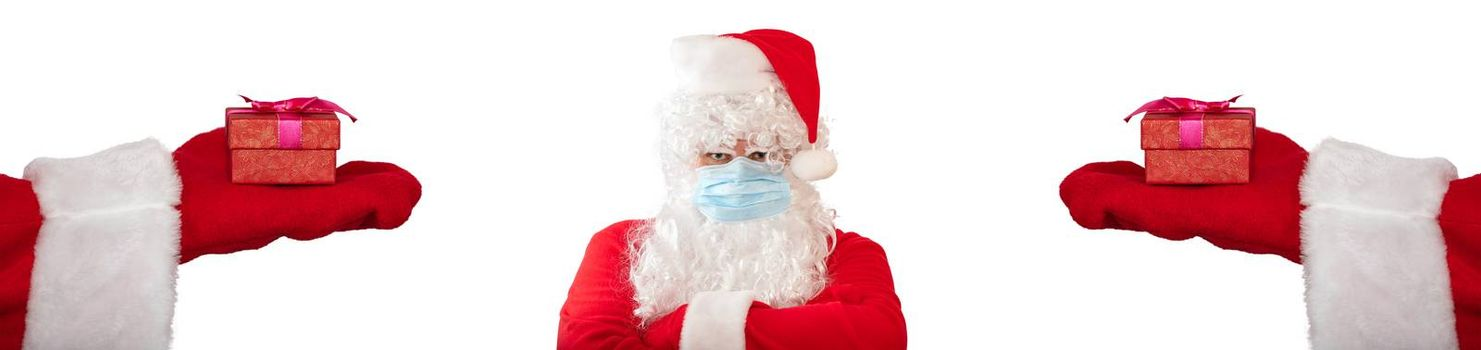 Santa Claus wearing a medical mask pointing at another Santa Claus who has his arms crossed on his chest, looks very angry. Isolated on white background. Banner size, copy space.