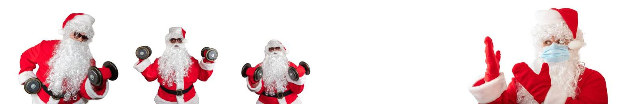 Santa Claus wearing a medical mask pointing at other Santa Clauses working out and doing bicep curls. Isolated on white background. Sport, fitness, medical conept. Banner size, copy space.