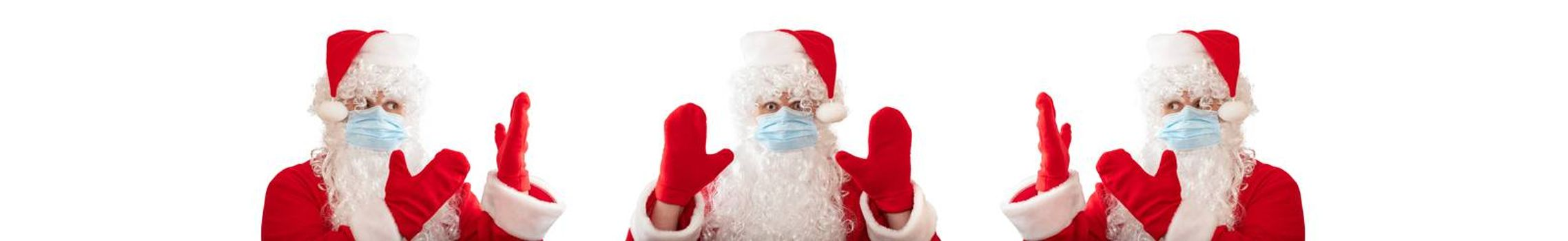 Santa Claus wearing a medical mask, having his both hands up, eyes wide open in warning gesture. Two other Santa Clauses pointing at him. Isolated on white background. Banner size, copy space.