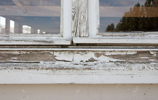 Home repair maintenance wooden window frame