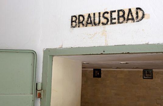Dachau, Germany, july 13, 2020: Gas chamber inscription at Dacha