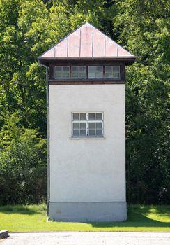 Dachau, Germany - July 13, 2020: Single watch tower at Dachau Co