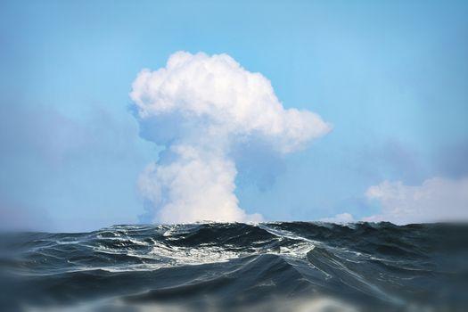 Big cloud over the sea