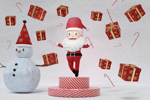 3D Rendering  , The dance of a cheerful Santa Claus and Snowman on ICE background . The Concept of Christmas.