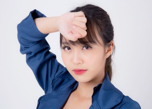 beautiful portrait young asian business woman worry and unhappy
