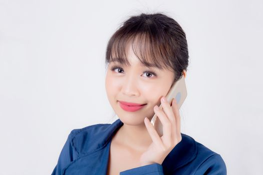Beautiful portrait young asian business woman confident talking on smart mobile phone isolated on white background, secretary businesswoman work with phone call with happy, communication concept.
