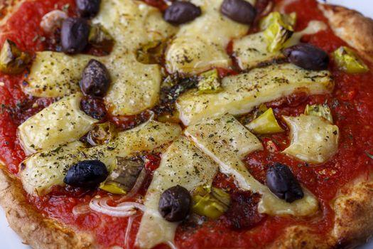 closeup of a pizza