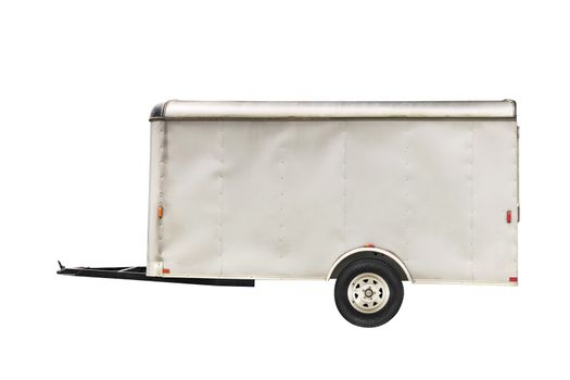 White trailer isolated on white background with space for text