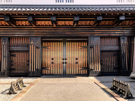 Front gate of Kanazawa castle detail of building and pattern design in Japan