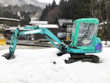 Snowplow Truck Remove the Snow in Shirakawago, Japan