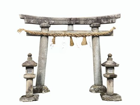 Shrine tori gate on white background