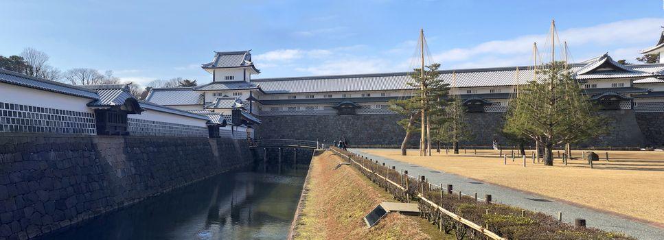 Panoramic view of Kanazawa castle in Japan