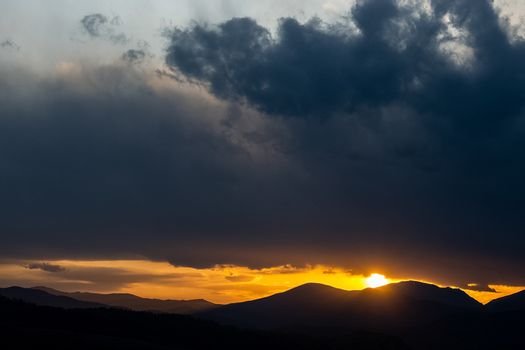 Sunset in the Altai Mountains. Nature's Altai Landscape of Nature