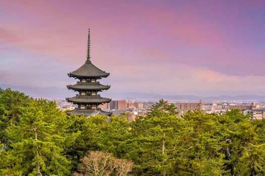 Five story pagoda Kofukuji temple at Nara , Japan at twilight