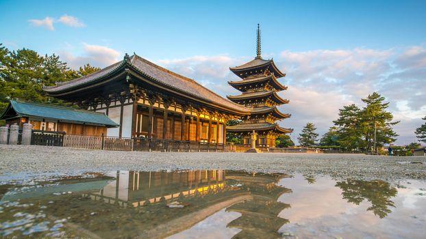 Five story pagoda in Nara , Japan with blue sky