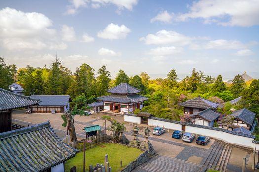 Old buildings in temple area of Nara Japan