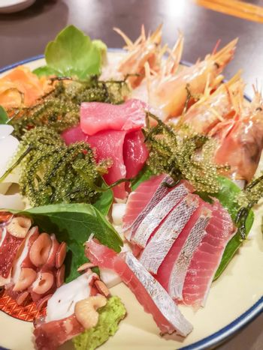 Okinawa style local seafood dish in Naha, Japan