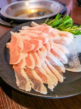 Okinawa style local pork shabu in Naha, Japan