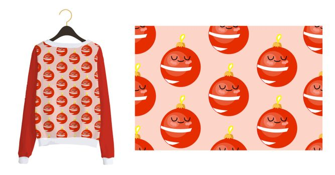 Trending Christmas pattern. New Year's seamless print. Christmas balls. Winter pattern on a pink background