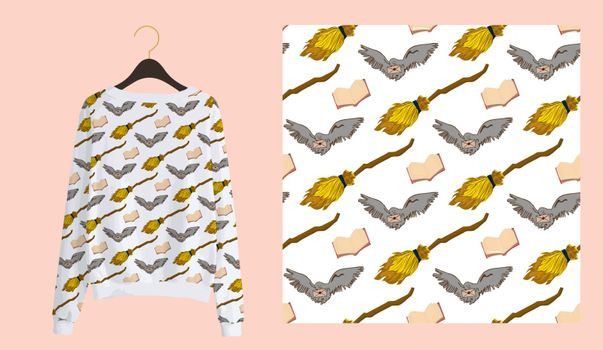 Trendy modern print for fabrics and textiles. Magic school seamless pattern. owl mailing on a white background. Design of youth teenage clothing