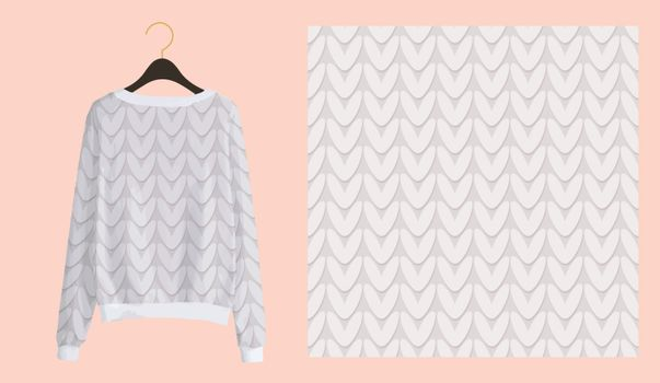 Trendy winter print for fabrics and textiles. Knitting seamless pattern. Imitation of a knitted texture. Clothing design