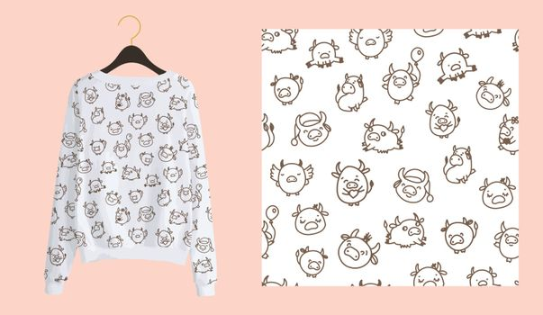 Trendy modern print for fabrics and textiles. Bulls or oxen seamless pattern. Doodle cow on a white background. Clothing design