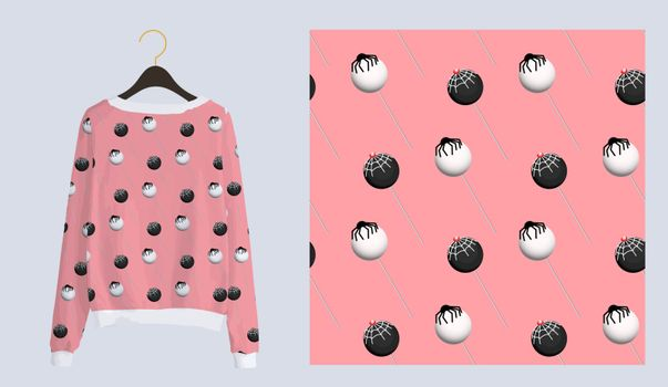 Trendy modern print for fabrics and textiles. Seamless sweet pattern. Chupa chups candy on a pink background. Pajama or hoodie design