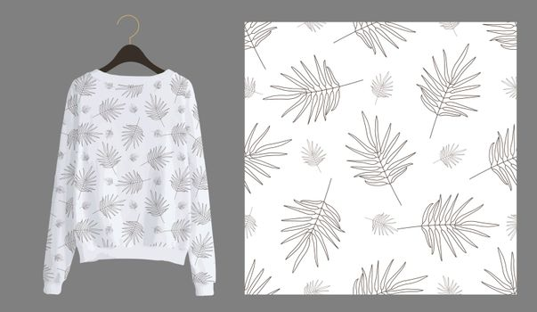 Trendy modern print for fabrics and textiles. Seamless tropical pattern. Palm leaves on a white background