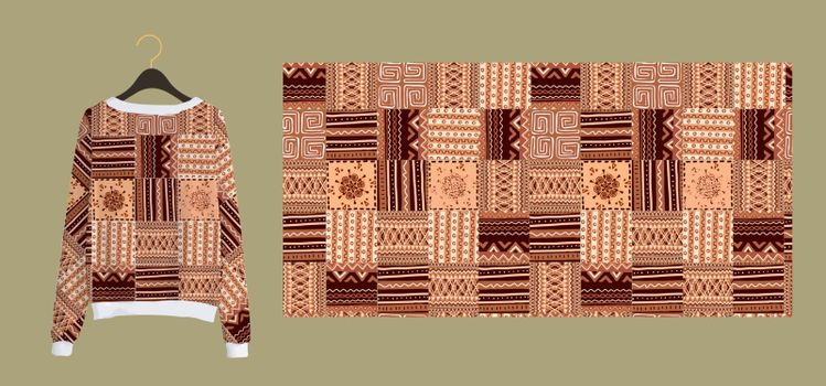 Trendy stylish print for fabrics and textiles. Seamless pattern in African style. Imitation of a tile. Clothing design