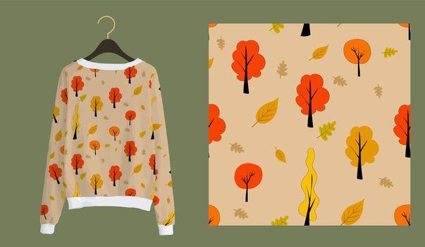 Trendy autumn pattern. Trees seamless print. Autumn forest