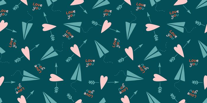 Cute love pattern. Abstract seamless pattern of love. Valentine's Day wrapping paper. Girly repeating background with hearts, stars draw in sketch style. Romantic wallpaper for girls, textiles