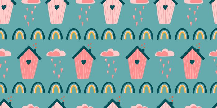 Cute love pattern. Abstract seamless pattern of love. Valentine's Day wrapping paper. Girly repeating background with birdhouses. Romantic wallpaper for girls, textiles, clothing, wrapping paper