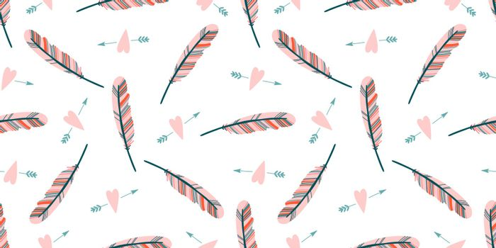 Cute love pattern. Feathers and hearts. Valentine's Day wrapping paper. Girly repeating background. Romantic wallpaper for girls, textiles, clothing, wrapping paper