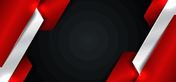 Banner web template design abstract red and silver metallic metal geometric overlapping layer on black background. Technology style. Vector illustration