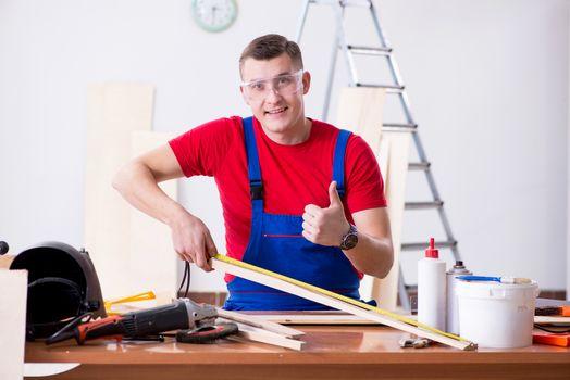 Contractor working in the workshop