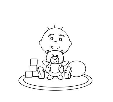 baby boy hug bear